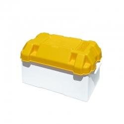 Caja de batería blanca/amarilla
