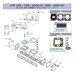Despiece escapes Mercruiser GM 160 - 165 - 200CID - 250 - 292CID 6 cyl en línea